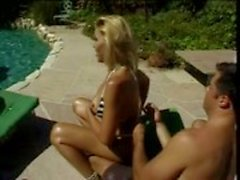 Outdoor hot threesome by pool