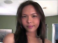 Gorgeous Asian ladyboy Taylor Stewart shoots gooey cum