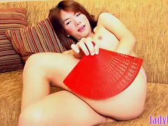 Big tits ladyboy masturbates her small dick until cumming