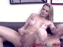 Cute Sucking blonde shemale rides cock