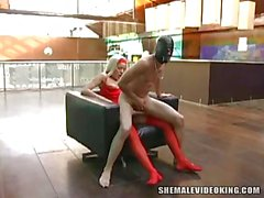 Cute Blonde In Red Lingerie Gets Fucked By Guy In Mask