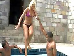 Two ebony guys want to fuck this TS blonde