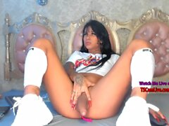 Hot Inked Latina TGirl Babe Playing with her Fat Shaft Live on Webcam Part 3