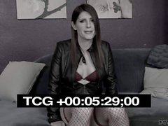 Tranny in red Amy Daly gets naked for a guy
