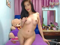 big ass asian shemale beauty stroking her cock on cam