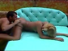 Blonde shemale in tan pantyhose great hard fuck