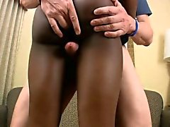 Lovely ebony femboy blowjobs and rides massive dick in POV