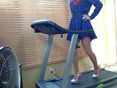 Trans dame workout in Sky High high-heeled shoes