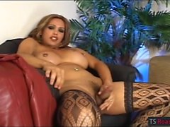 Huge tits tranny Penelope Jolie in stockings fucks horny guy