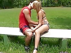 Blonde shemale banging at outdoors