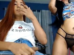 Asian transsexual plays with herself