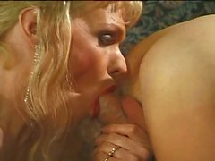 Hot blonde she-male fucked by massive dick