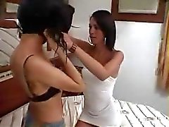Brunette shemale bangs this blonde and gets his cock sucked