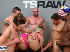 Tranny gangbang fuck with a hot blonde ts getting stuffed