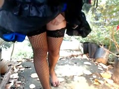 Outdoors sissy Ladyboy shaking her dick masturbating it