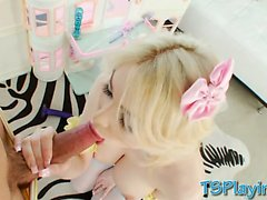 Busty blonde shemale Sarina Valentina blowjob and ass fucked