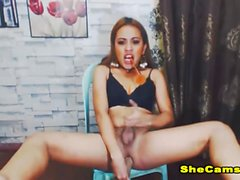Horny Shemale with Huge Tits Jerking Live