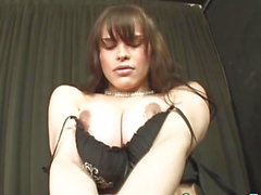 Breasty latin babe transsexual jizzes