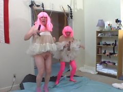 2 sissies crossdressers having fun