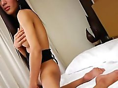Big booty Asian shemale show off her fuck hole then wank off
