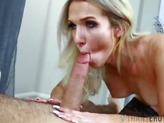 TRANSEROTICA TS Kayleigh Coxx Slurps Jizz After Giving Head