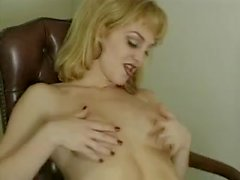 Blonde in sexy lingerie jerks off a lot