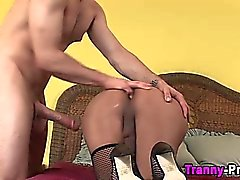 Asian ladyboy rimmed and rammed