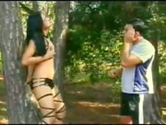Latina Tgirl drills her BF in the forest