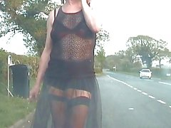 Exhibitionist tranny whore, see-thru on the streets again