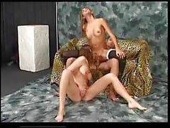 Italian shemale is amazing in threesome