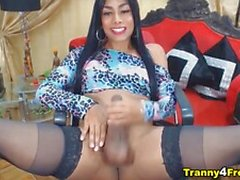 Kinky Brunette Colombian Trans Stiffed Cock Fapping