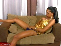 Kinky black tranny slaps tight ass and jerks